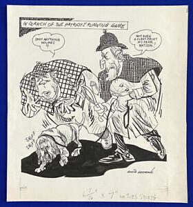 1980-039-s-Patriots-Running-Game-Sherlock-Holmes-amp-Watson-16x18-Original-Cartoon-Art