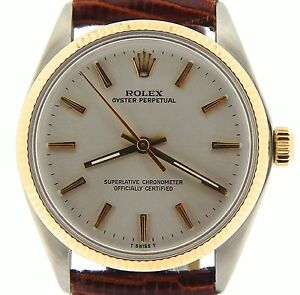 Mens-Rolex-14K-Yellow-Gold-Stainless-Steel-Oyster-Perpetual-Silver-Brown-1005