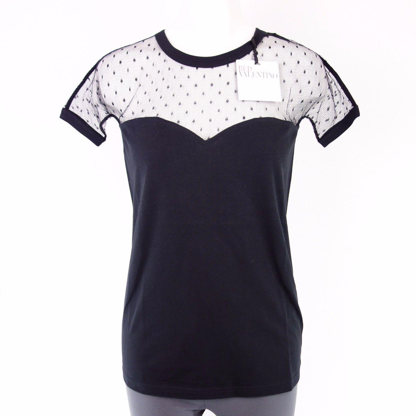 rot VALENTINO Damen Shirt Gr 36 38 42 S M XL Schwarz Spitze Kurzarm NP 149 NEU