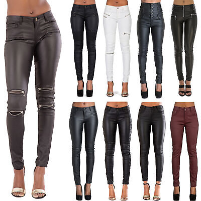 Fein New Womens Leather Look Jeans Sexy Trousers Ladies Black Slim Fit Size 6-14