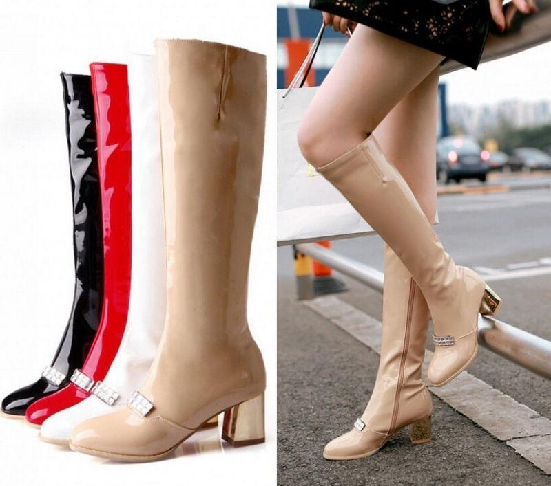 Patent Leather Block Heel Knee High Boots Womens Rhinestone Skiny Zip shoes Plus