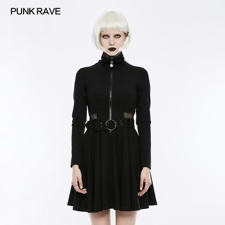 Punk Rave Noir Gothique Punk Beau Tricot Punk robe avec engrener épissées Design