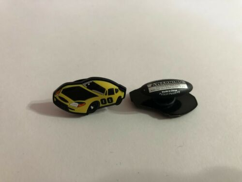 Yellow Race Car Shoe-Doodle For Rubber Shoes or Crocs Shoe Charm PSC200