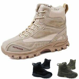 Hombres-Ejercito-tactica-Suave-Cuero-Combate-Militares-Tobillo-Botas-Al-Aire-Libre-Zapatos-De