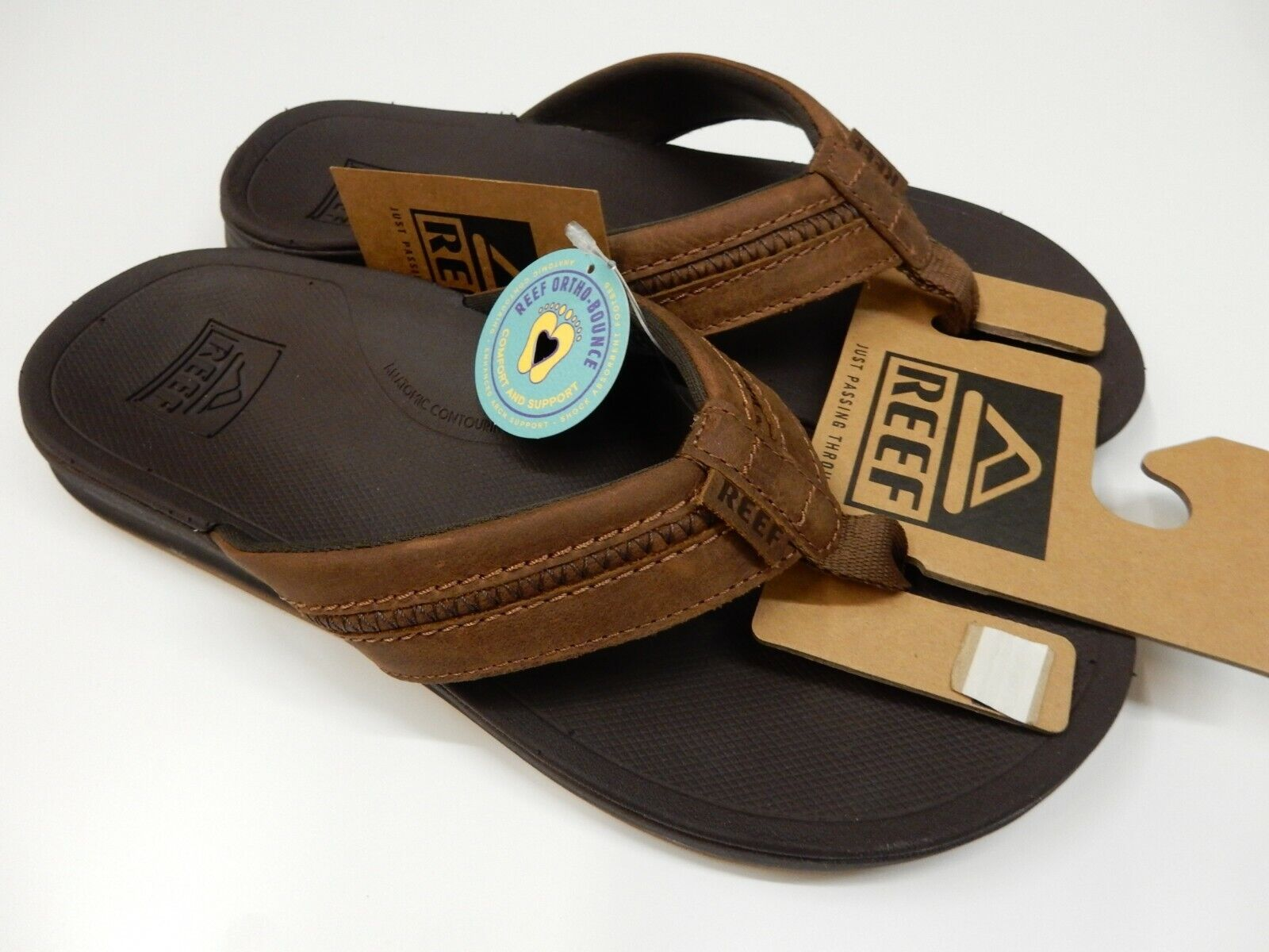 Reef Mens Leather Ortho-Bounce Coast Brown Size 9