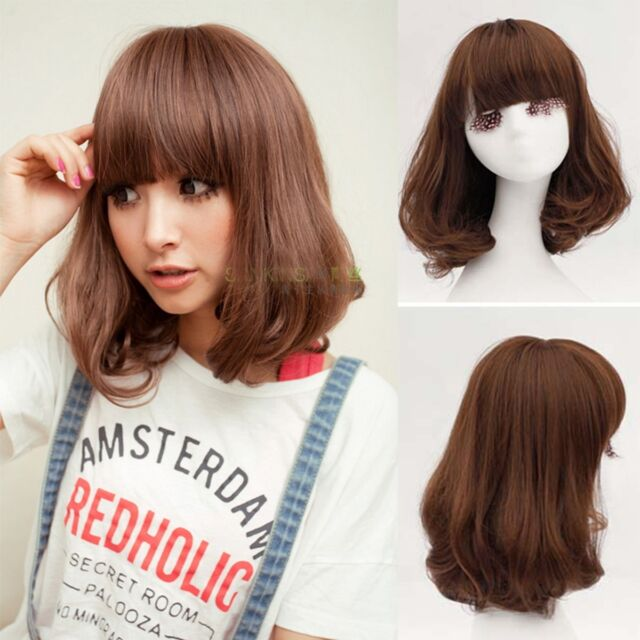 Fashion Cute Lady Short Curly Wavy Hair Full Wigs Cosplay Party Bobo Wig