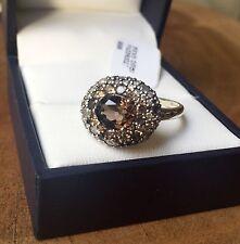 NWT $595 ALEXIS BITTAR FINE 925 Silver Smoky Brown Quartz Pave Diamond Ring Sz 7