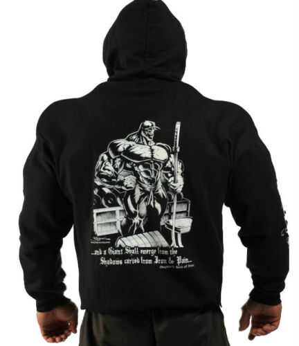 MENS COTTON WORKOUT BLACK BOOK OF PAIN BODYBUILDING CLOTHING HOODIE GYM TOP