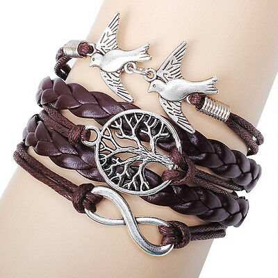 NEW Hot Infinity Love Anchor Leather Cute Charm Bracelet plated Silver DIY SL147