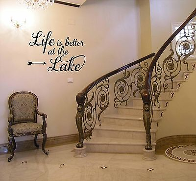 LIFE IS BETTER AT THE LAKE HOUSE DECOR VINYL WALL DECAL LETTERING QUOTE SIGN