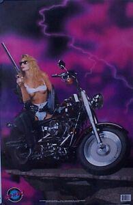 Harley Davidson Vintage Fat Boy Poster 1992 Rad & Bad Motorcycle Girl Shotgun