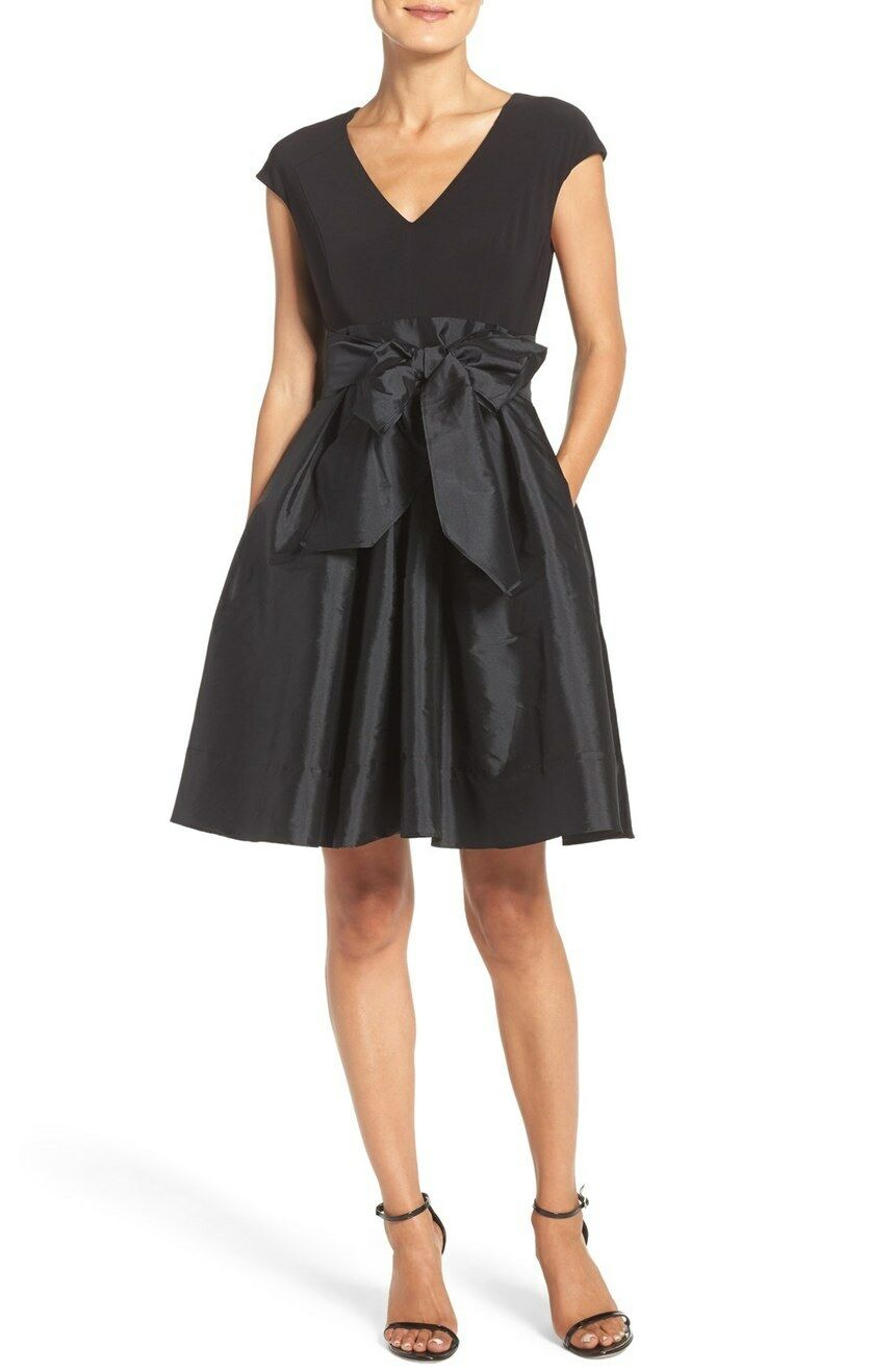 Adrianna Papell Jersey & Taffeta Fit & Flare Dress (Size 14)