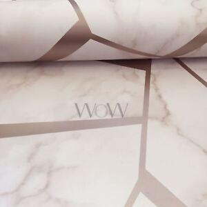 Fractal-Geometrique-Marbre-Papier-Peint-Dore-Rose-Rose-fine-decor-FD42264