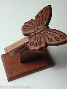 Butterfly-Clip-Carving-Wood-Stand-Recipe-Business-Card-Holder-Vintage