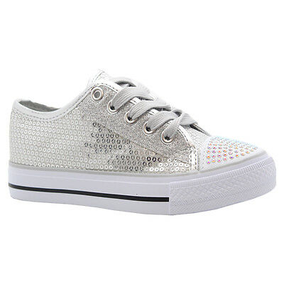 GIRLS KIDS PARTY GLITTER LACE UP SKATER PUMPS PLIMSOLLS SHOES TRAINER BOOT SIZE