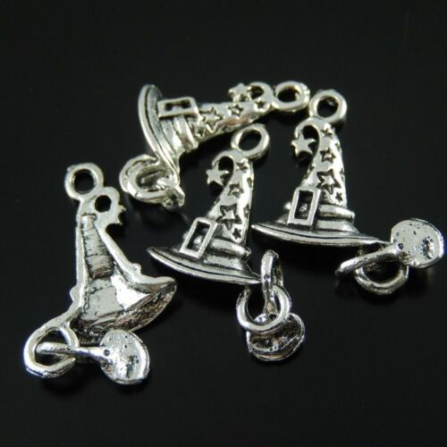 08268 Antique Silver Tone Alloy Halloween Hat Pendant Jewelry Finding 10pcs