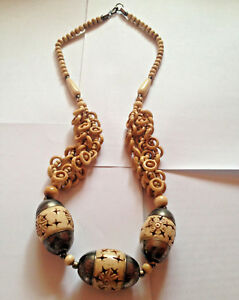 Vintage Tribal Hand Carved Bone Necklace Colored Beads Dangling Rings Ebay