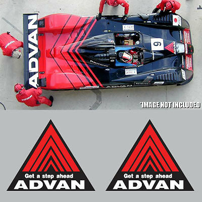 Red JDM DRIFT RALLY FREE SHIP 2x Advan Racing Decal Sticker Black