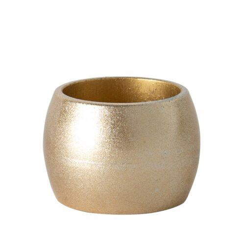 6x Metallic Napkin Rings Luxe Christmas Fine Dining Serviette Holders Gold