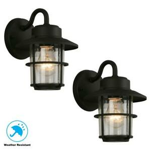 2PK-Black-Wall-Lantern-Sconce-Outdoor-Light-Fixture-Porch-Lamp-Exterior-Lighting