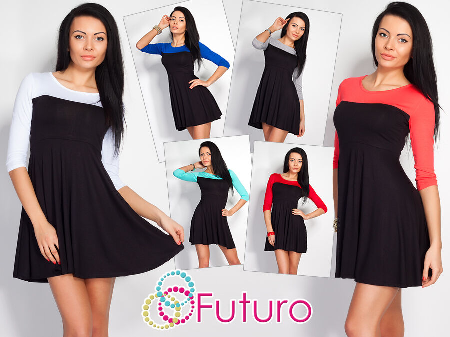 Sexy Women's Two Coloured Dress 3/4 Sleeve Boat Neck Tunic Size 8-12 8470