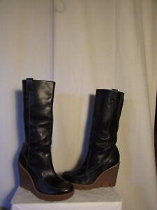 code promo b41dc d34c8 Détails sur bottes compensées MICKAEL KORS cuir noir pointure 9W