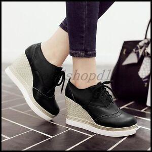 e2cfac84771 Fashion Womens Round Toe Brogue Lace Up Platform Wedge Heel Creeper ...