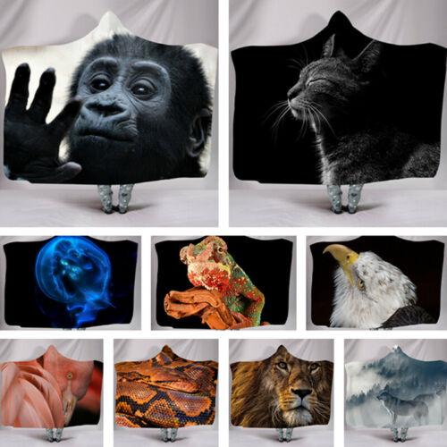 2020 3D Animal Printed Throw Blanket Child Adult Warm Winter Cloak Soft Fluffy