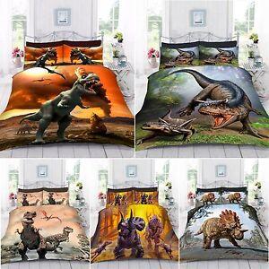 UK-Made-3D-Digital-Foto-Impresion-Dinosaurio-mundo-Cubierta-Del-Edredon-Edredon-Con-Funda-De