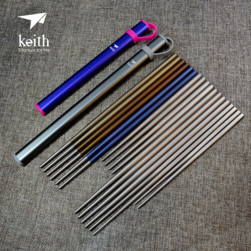 Keith Titanium 5 Pairs Ti5634 Solid Square Handle Chopsticks Shipped from USA