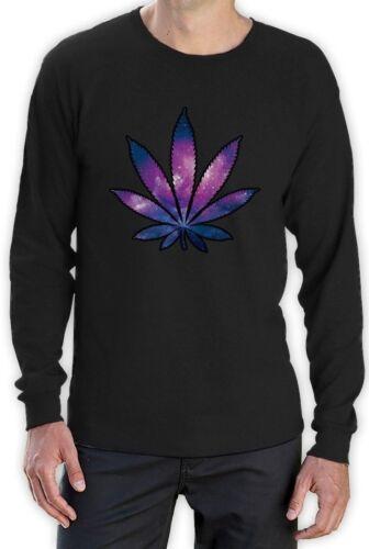 // marijuana Leaf Party Rave Weed Plant Cosmic Style dope  Long Sleeve T-Shirt