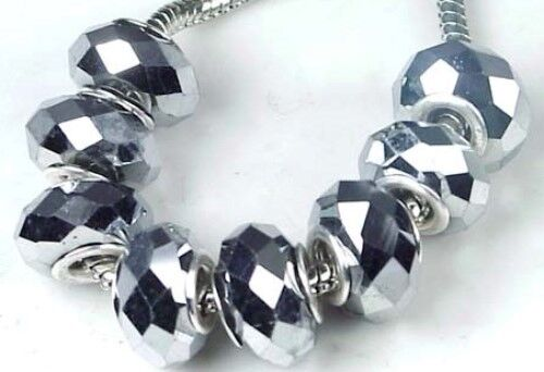 8 Metallic Silver 14x8mm Faceted Glass Big Hole Fit Charm Bracelet Beads