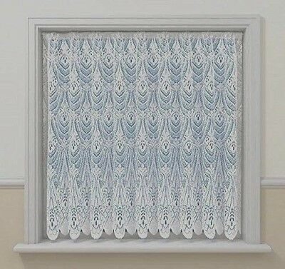 "BRILLIANT WHITE NET 45/""48/"" 54/"" DROP JAQUARD FAN LACE NET CURTAIN SOLD PER METRE"