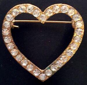 434cd6409b244 VINTAGE - RHINESTONE HEART BROOCH   eBay