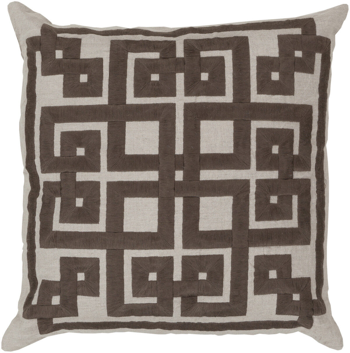 Surya Brown Lattice Knot Trellis Squares Contemporary Area Rug Embroidered LD001