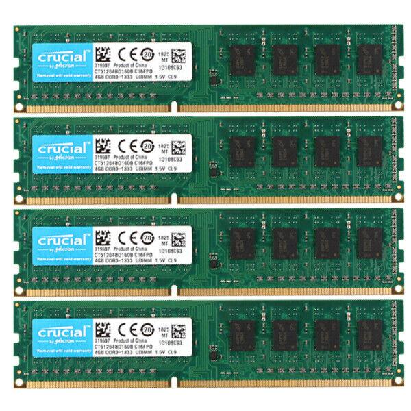 For Crucial 32GB 16GB 8GB PC3-10600U DDR3 1333Mhz 240pin 1.5V Desktop RAM Lot UH