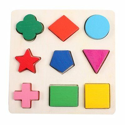 Kids Maths Geometry Wooden Puzzle Blocks Preschool Educational Game Toy JUST