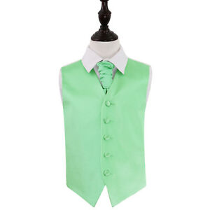DQT-Satin-Plain-Solid-Mint-Green-Boys-Wedding-Waistcoat-amp-Cravat-Set