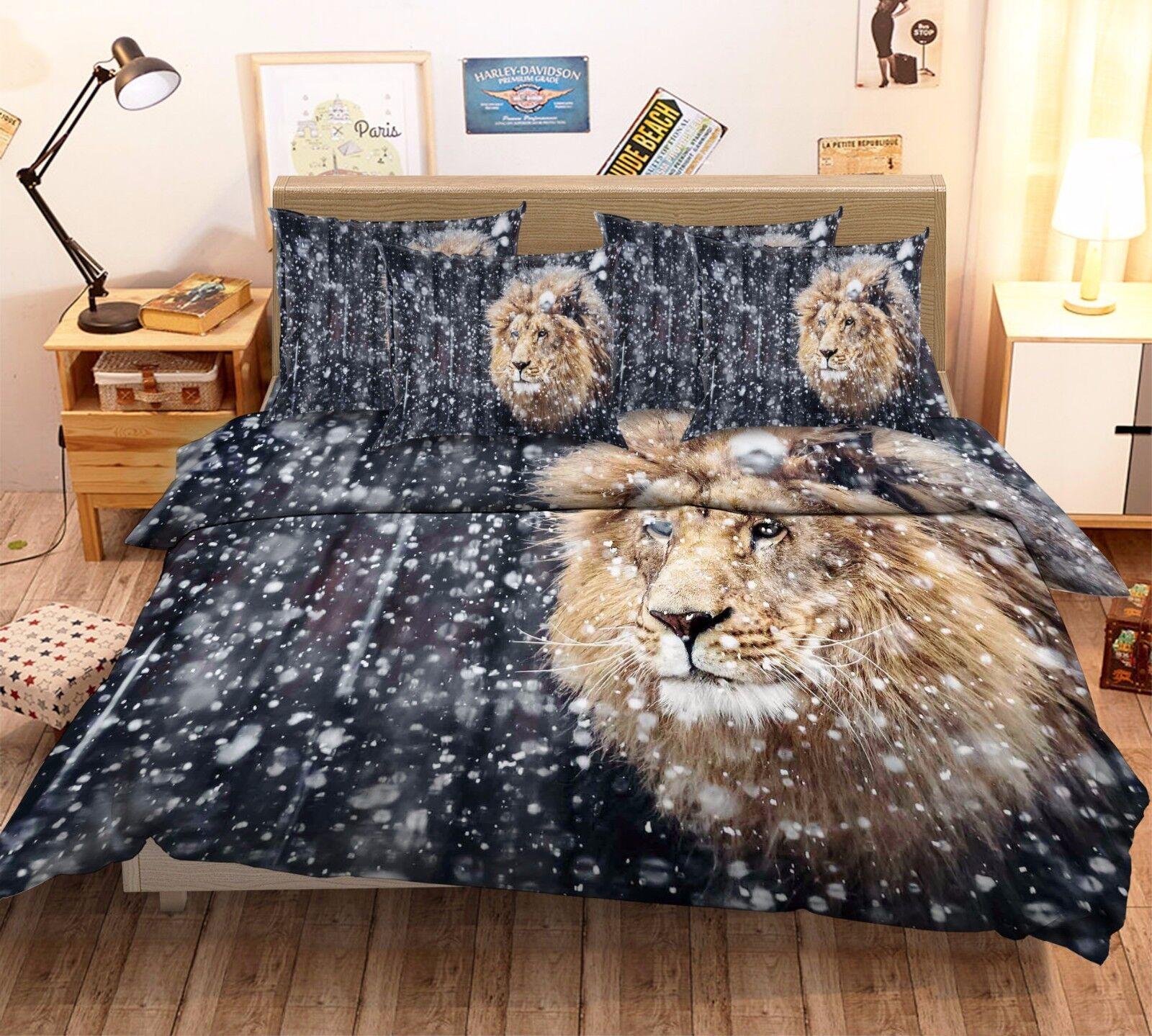 3D Snowflake Lion 64 Bett Pillowcases Quilt Duvet Startseite Set Single Königin CA