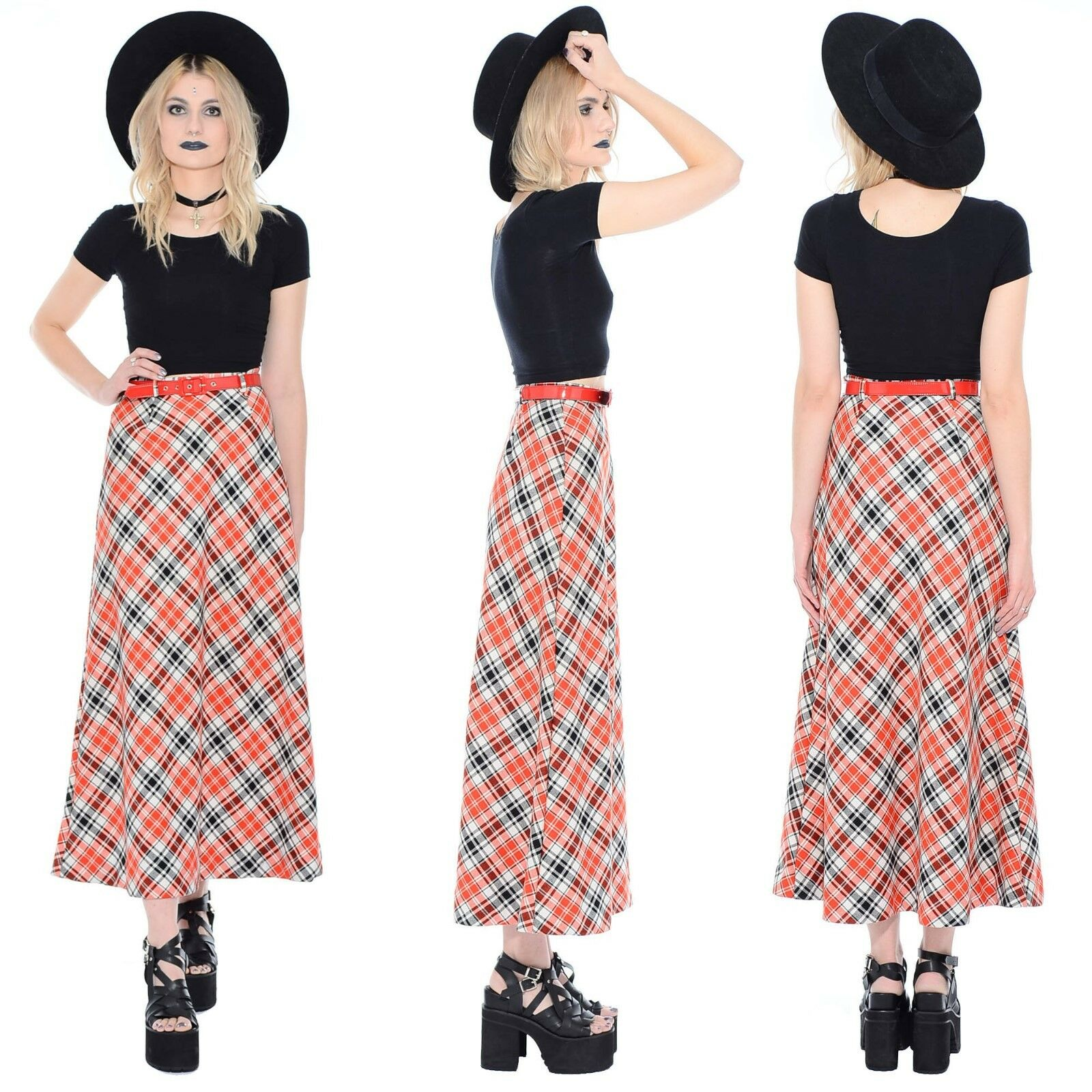 Vintage 70s PLAID High-Waist Maxi Dress Skirt Grunge Mod Boho Hippie A-Line