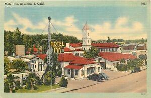 LINEN-Postcard-CA-D414-Motel-Inn-Bakersfield-Calif-Street-View-Mission-Style