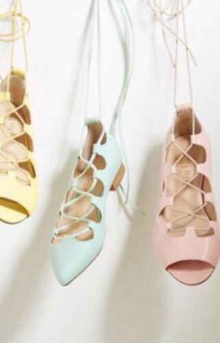 NEW Anthropologie Lace Up Pointy Toe Flats Aqua Canvas