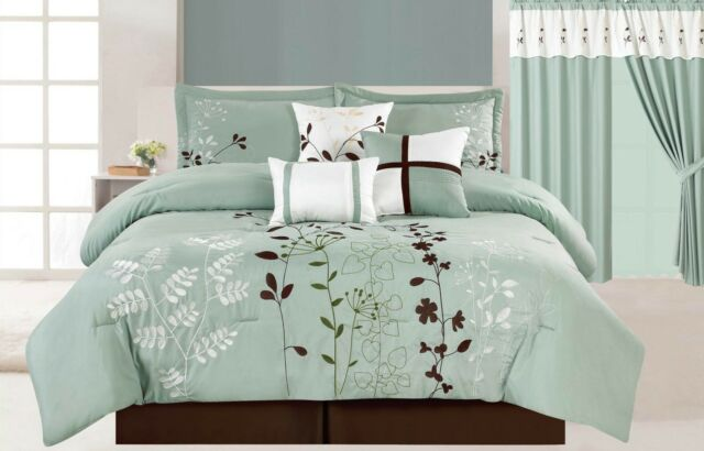 7Pc Floral Embroidered Microfiber Comforter Set Sage Teal Brown Twin - Cal King