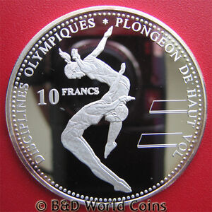 2000-CONGO-10-FRANCS-SILVER-PROOF-DIVER-DIVING-SYDNEY-SUMMER-OLYMPICS-CROWN-40mm