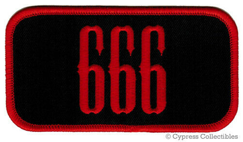 666 - BIKER PATCH iron-on emblem EMBROIDERED EVIL SATAN DEVIL NUMBER motorcycle