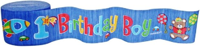 First Hugs & Stitches 1st Birthday Boy Crepe Streamer 1pc Party Decorations