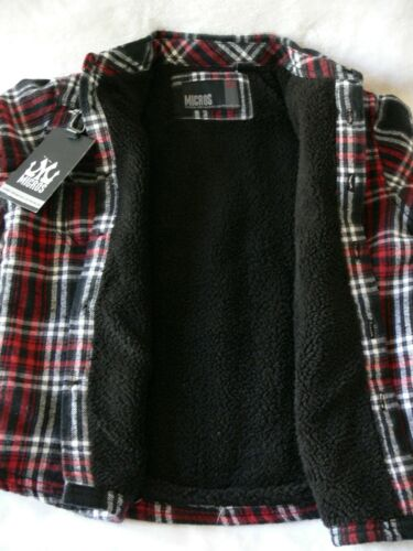 Boys Sz 5 ~ 6 ~ 7 Black//Red Riff NWT Micros Shirt Fleece Lined Shirt Jacket