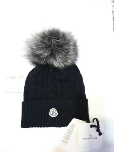 Black womens hat Moncler cable knit beanie with fo