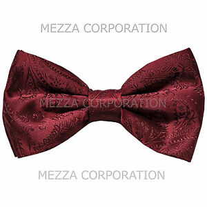 New formal men's pre tied Bow tie paisley pattern party wedding prom burgundy