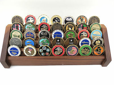 Coin Display Rack Stand Military Challenge Coins Walnut Wood, 5-tier
